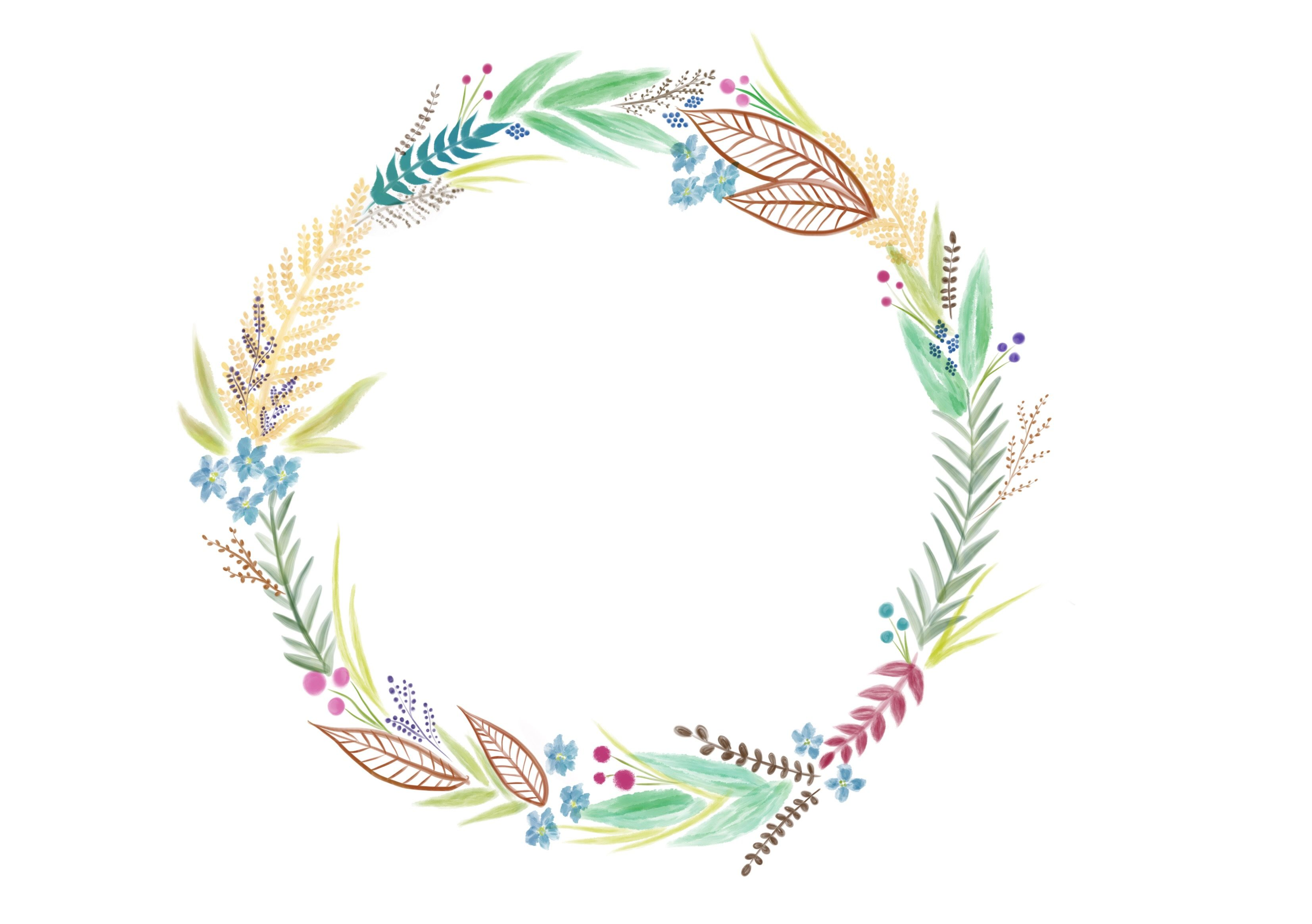 photo regarding Printable Wreath identify doodle wreath, floral wreath, watercolor wreath, free of charge