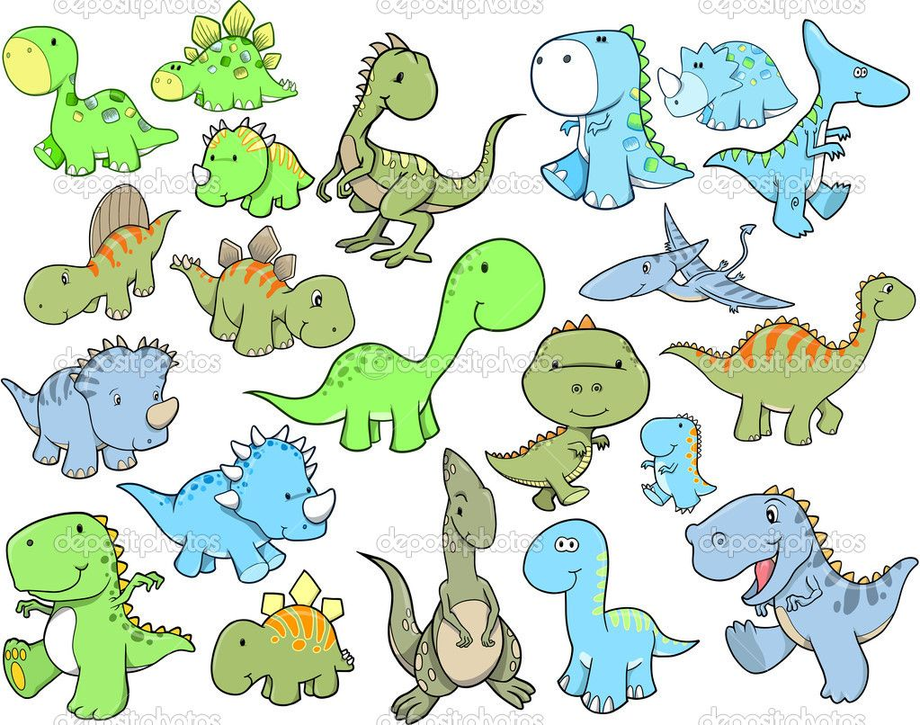 Pictures Of Cute Dinosuars Cute Dinosaur Vector Illustration