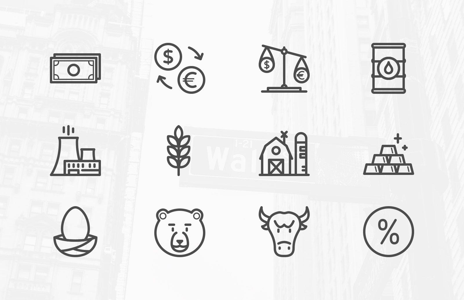 Stock Market & Commodity Icons Stock market, Icon set