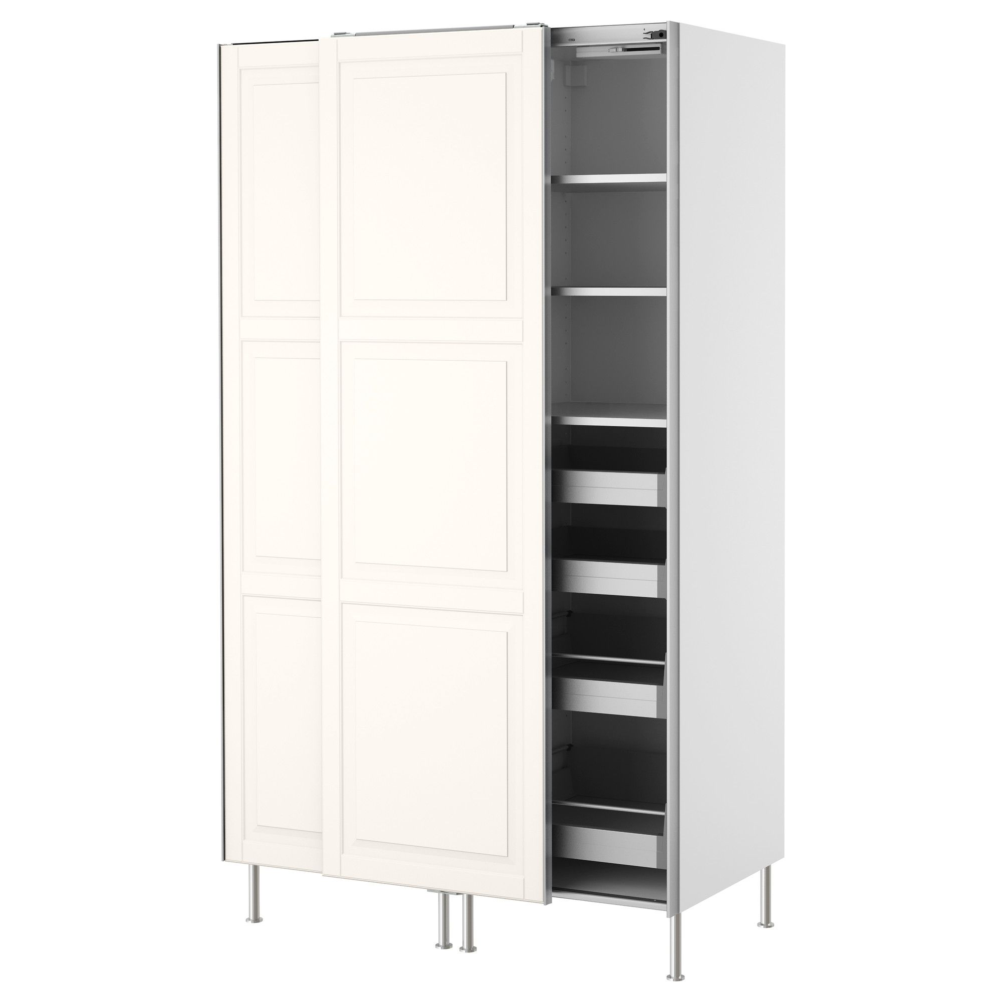 Faktum High Cabinet With Sliding Doors Lidingö Off White Ikea