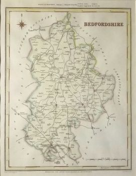 Antique Maps UK England Bedfordshire Map By Creighton Walker - Vintage maps uk