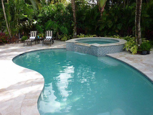 Inground Kidney Shaped Swimming Pools Spa Area Tree Shade Pool