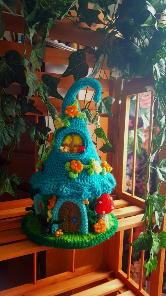 this is a newly made one of a kind crochet fairy or gnome home made - Gnome House S Design