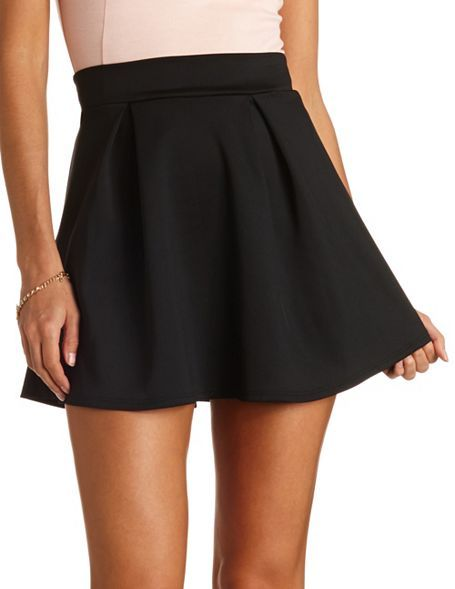 474d55783a High-Waisted Pleated Skater Skirt: Charlotte Russe   A Girl's ...