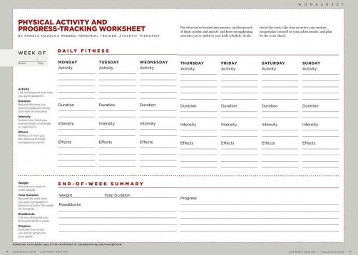 Physical activity progress-tracking worksheet: A free download - Canadian Living
