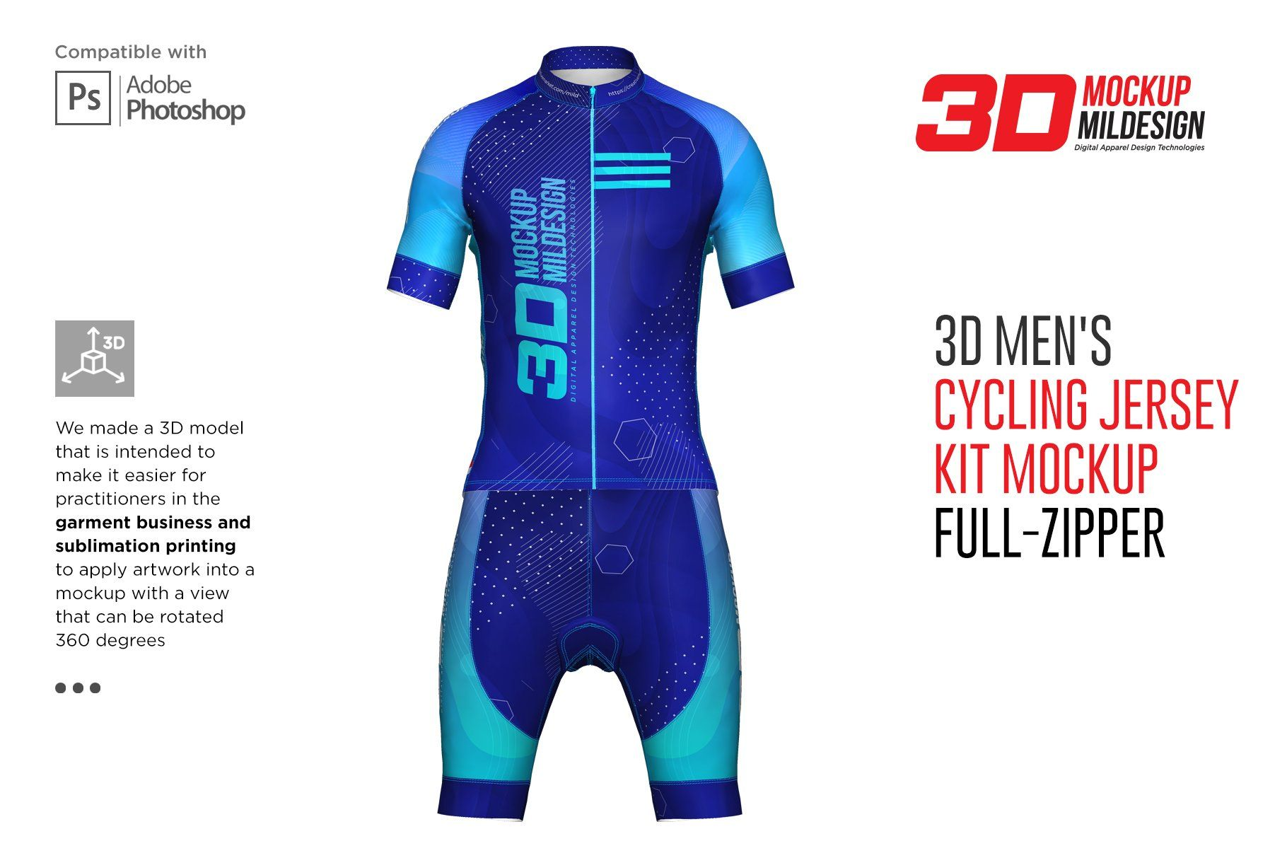 Download 3d Mens Cycling Jersey Kit Fullzip By Mild On Creativemarket Mens Cycling Cycling Jersey Cycling