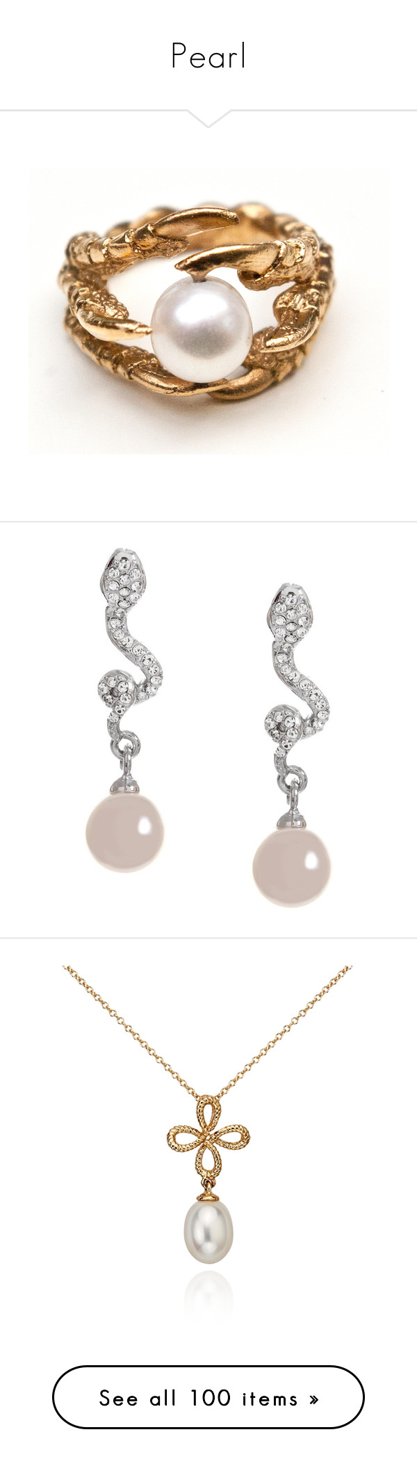 """""""Pearl"""" by cinthiab ❤ liked on Polyvore featuring jewelry, rings, accessories, pearl ring, twist ring, pearl jewellery, cage ring, claw ring, earrings and harry potter"""