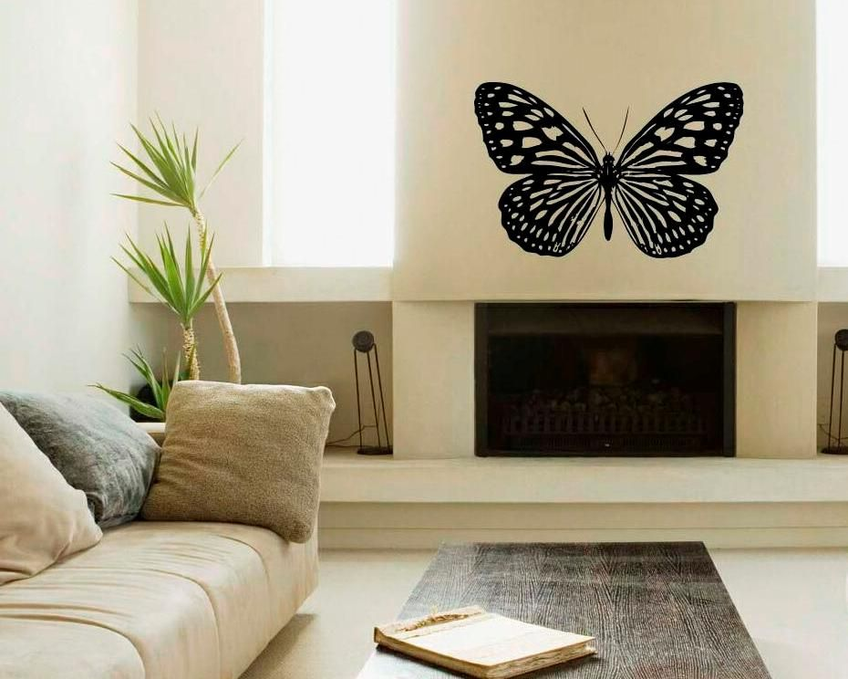 Beautiful Black Butterfly Wall Decal Above Fireplace Wall Decal