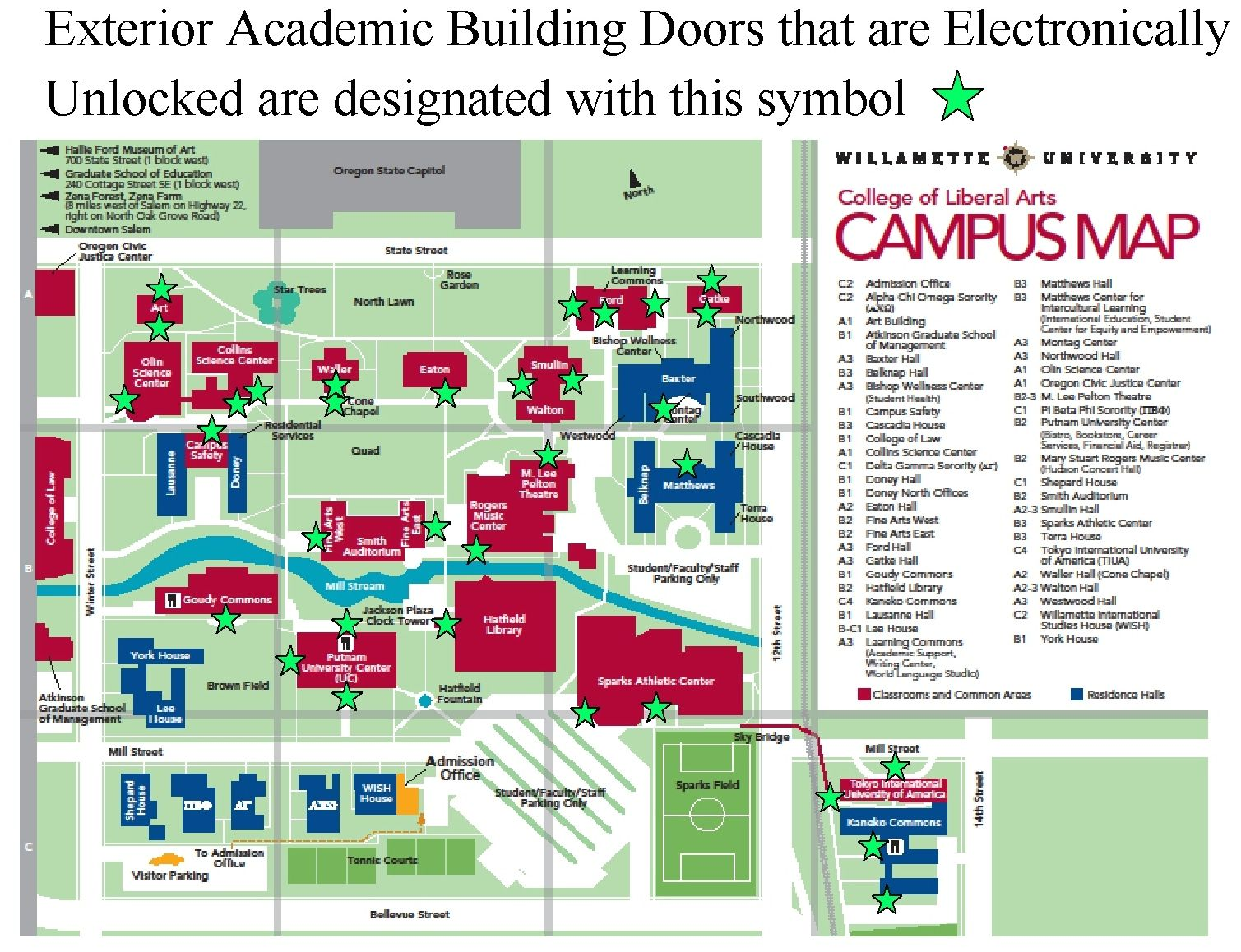 willamette university campus map Campus Safety Click Door Lock Policy Map Willamette University willamette university campus map
