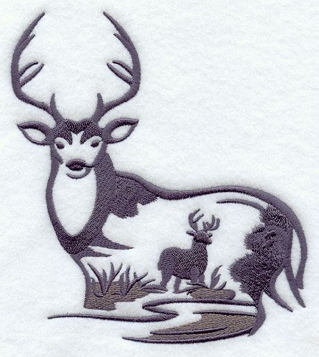 White tailed deer embroidery designs machine