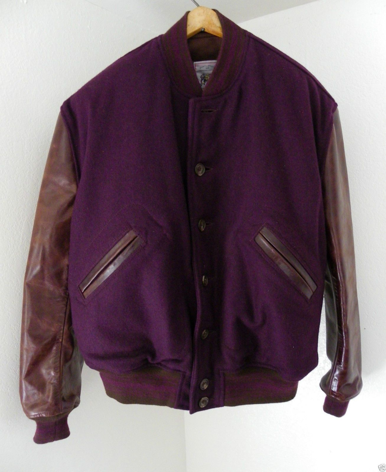 Aero Leather Clothing LETTERMAN Varsity Jacket Purple Wool