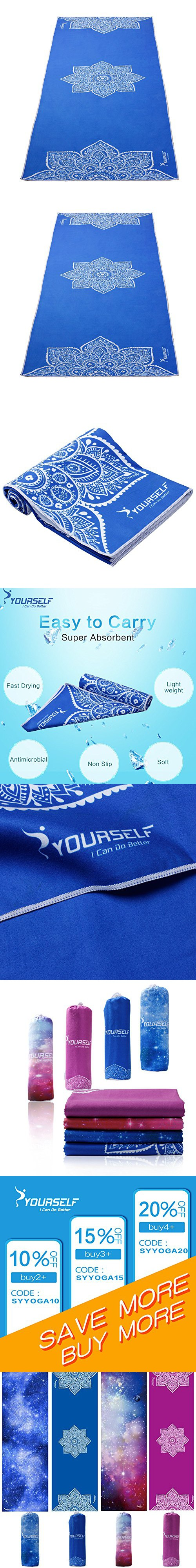 "Syourself Yoga Towel-72""x24"" - Non Slip,Ultra Absorbent,Soft-Perfect Microfiber Hot/Skidless/Bikram Yoga Mat Towel for Fitness, Exercise,Sports& Outdoors +Travel Bag(Blue flower, L:72""x24"")"
