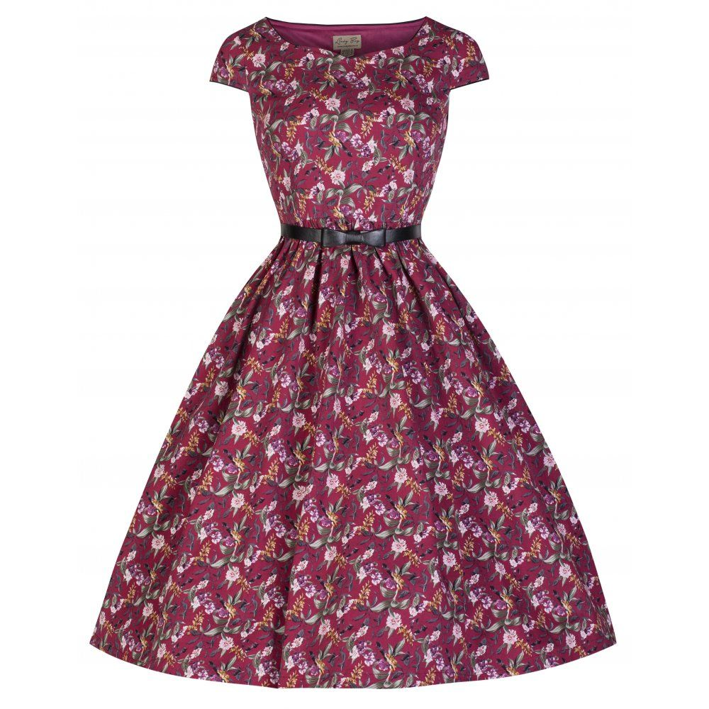 Tara\' Floral Print Vintage Inspired Swing Dress