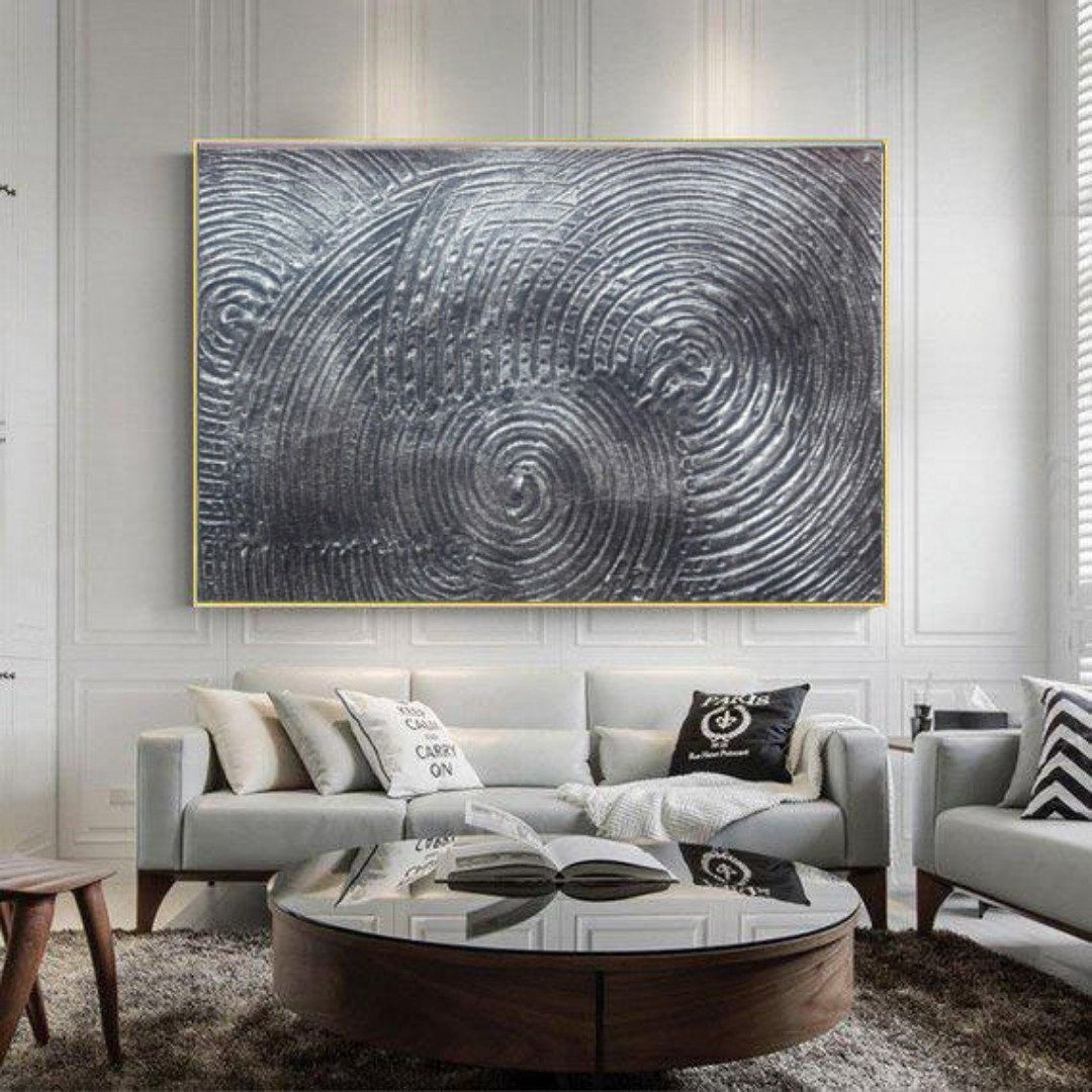 Large Painting, Silver Abstract Rich Metallic Texture ...