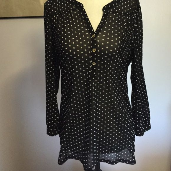 1180a1b44f71e Outback Red Semi- Sheer Blouse- Lge Cute black   white polka dot blouse  with 3 4 buttoned sleeves. Excellent condition! Outback Red Tops Blouses