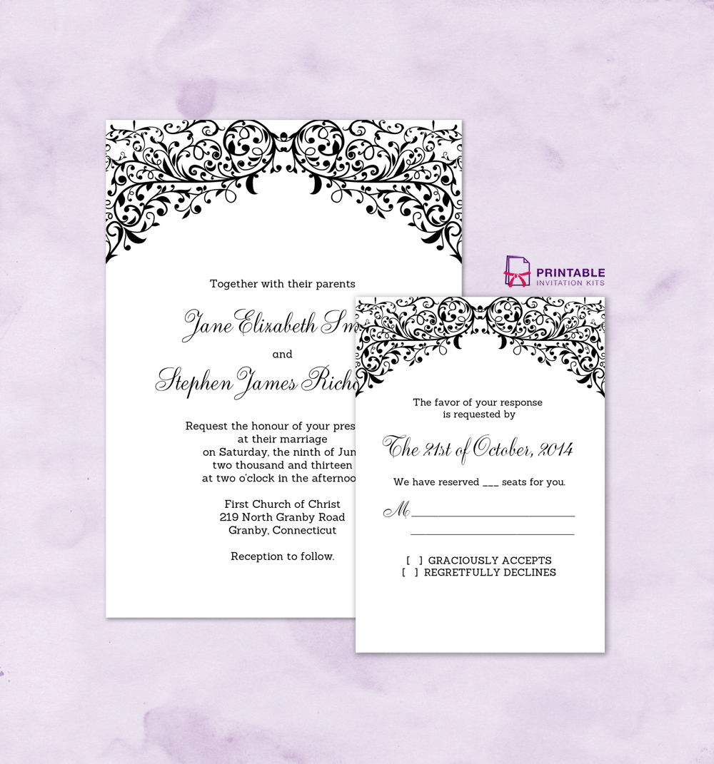 free pdf wedding downloads  filigree top border invitation and rsvp  for customizations