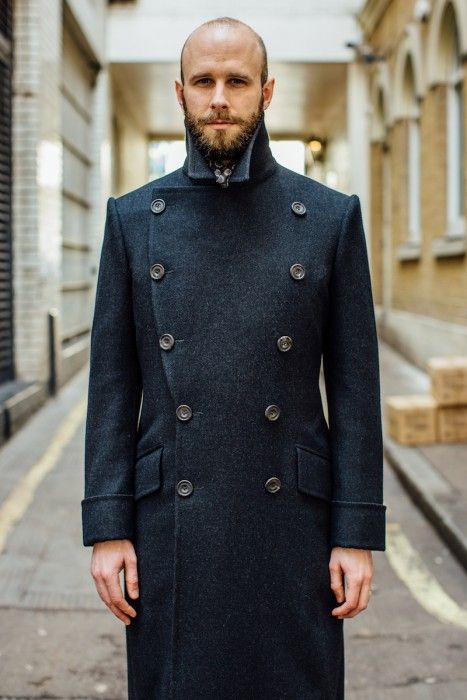 Charcoal double-breasted overcoat w/ high collar & low hem ...