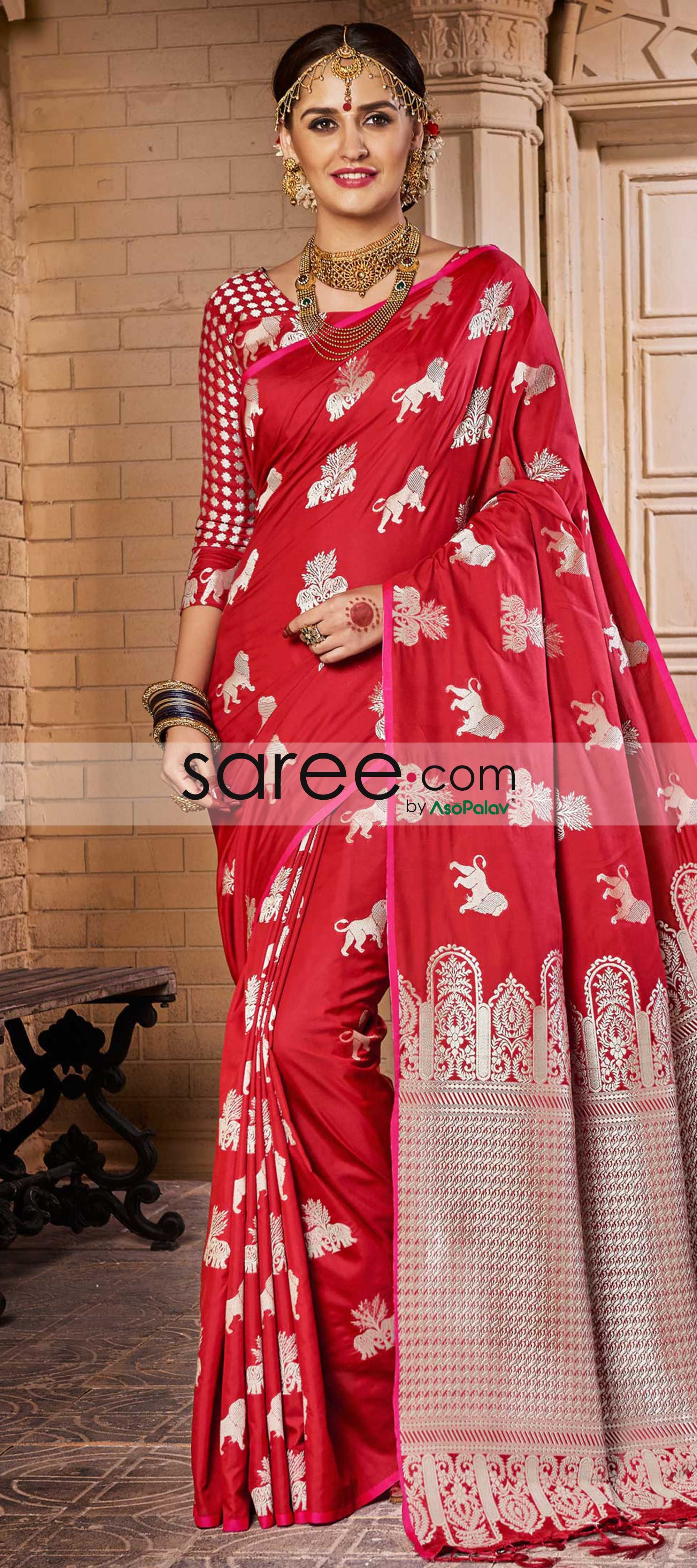 fa37eb5c9b4fca Red Silk Saree with Animal Motifs | sarees | Saree, Silk sarees ...