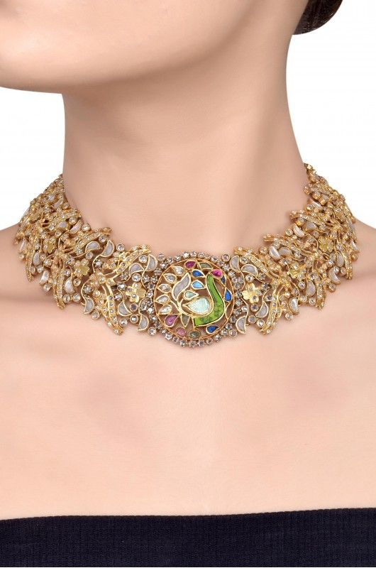 169a7a141e Silver Gold Plated Peacock Motif Crystal Leafy Necklace | Design ...