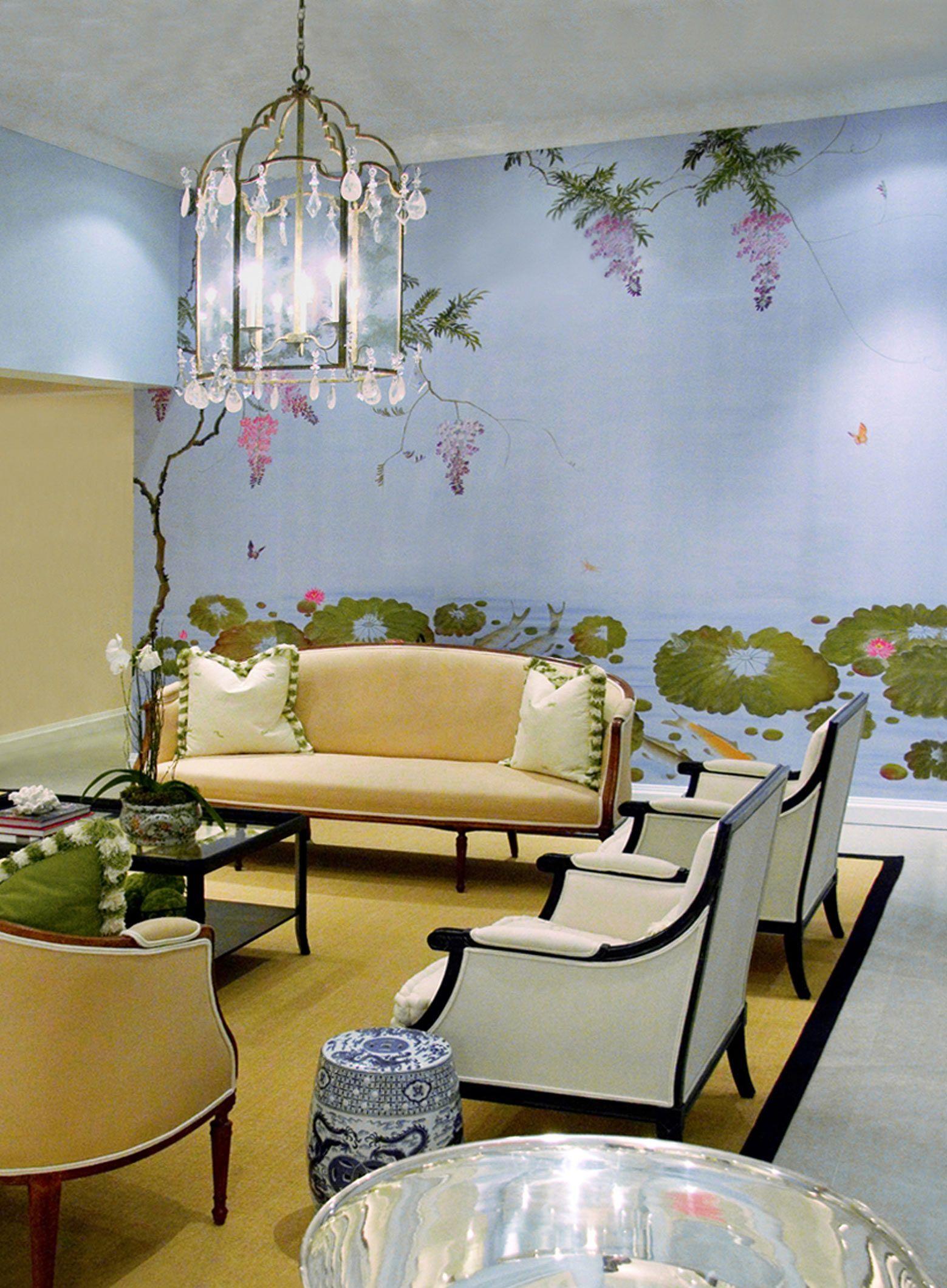 Liberty Furnishing Fabrics Ocean Ianthe Flower Wallpaper