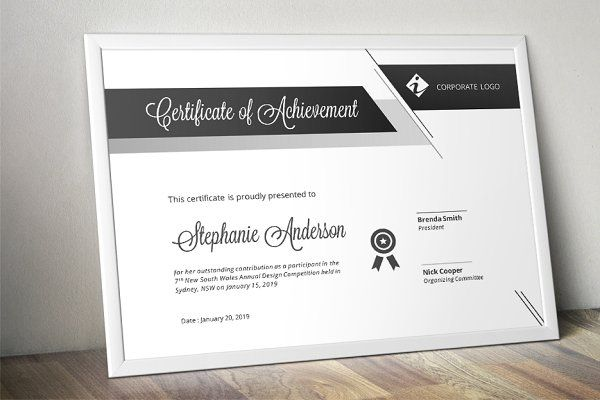 Script bar docx certificate template - Stationery otros - certificate templates word