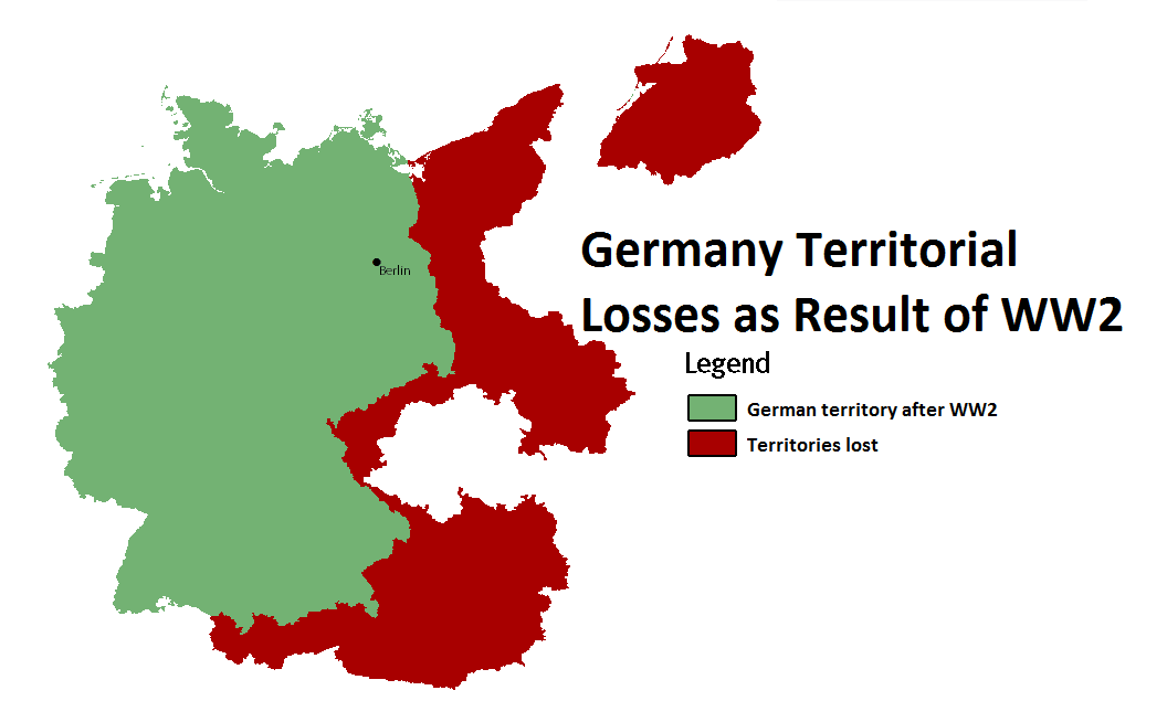 Germany Territorial Losses After World War 2 Map Showing