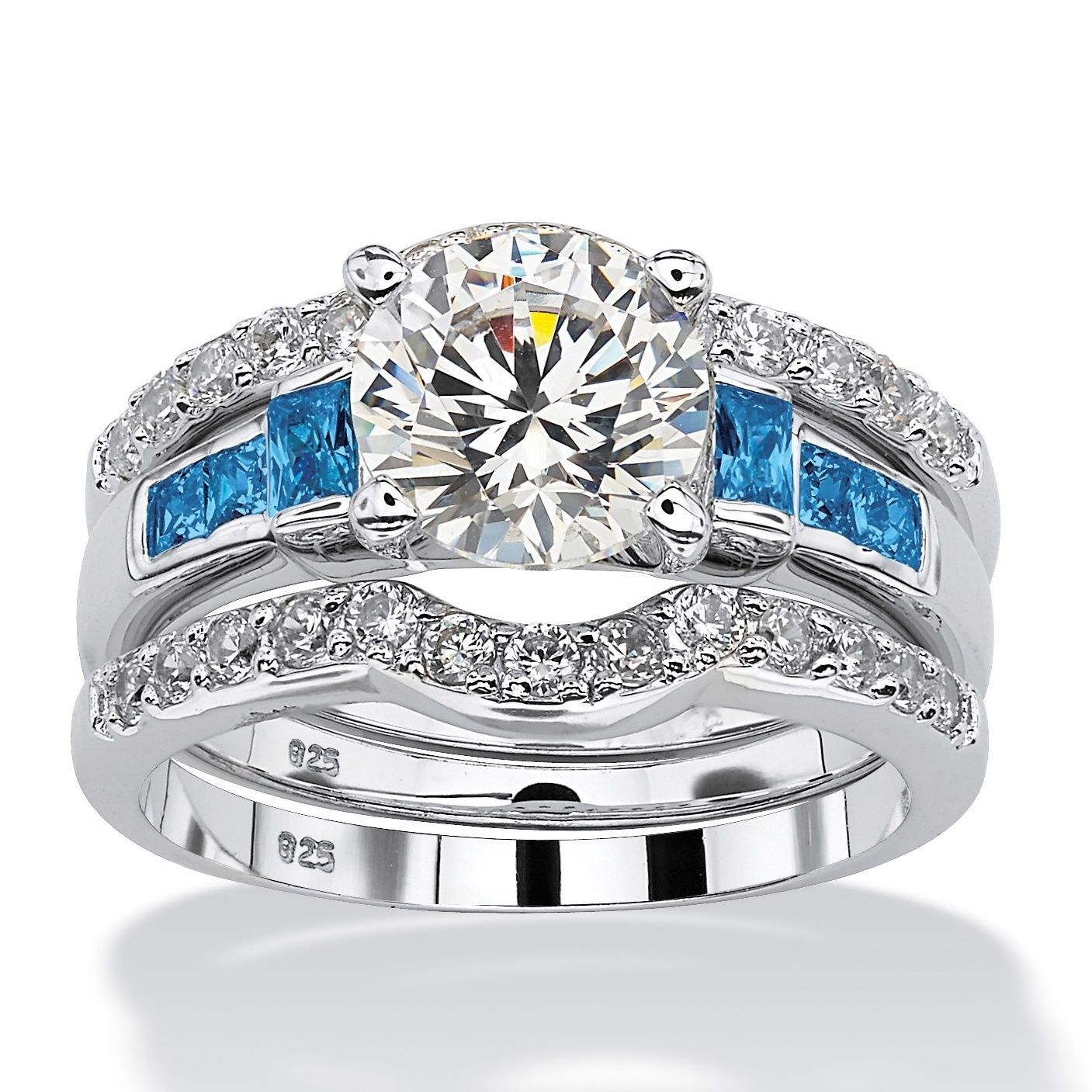 Platinum over Sterling Silver Cubic Zirconia and Sapphire