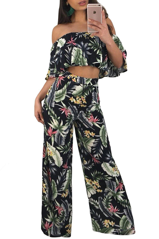 a6dc802ecb5fa Tropical Print Ruffle Crop Top Wide Leg Pant Set
