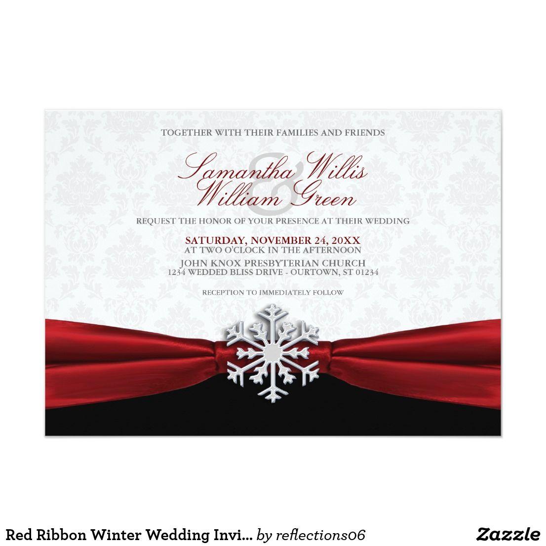 Red Ribbon Winter Wedding Invitation | Winter wedding invitations ...