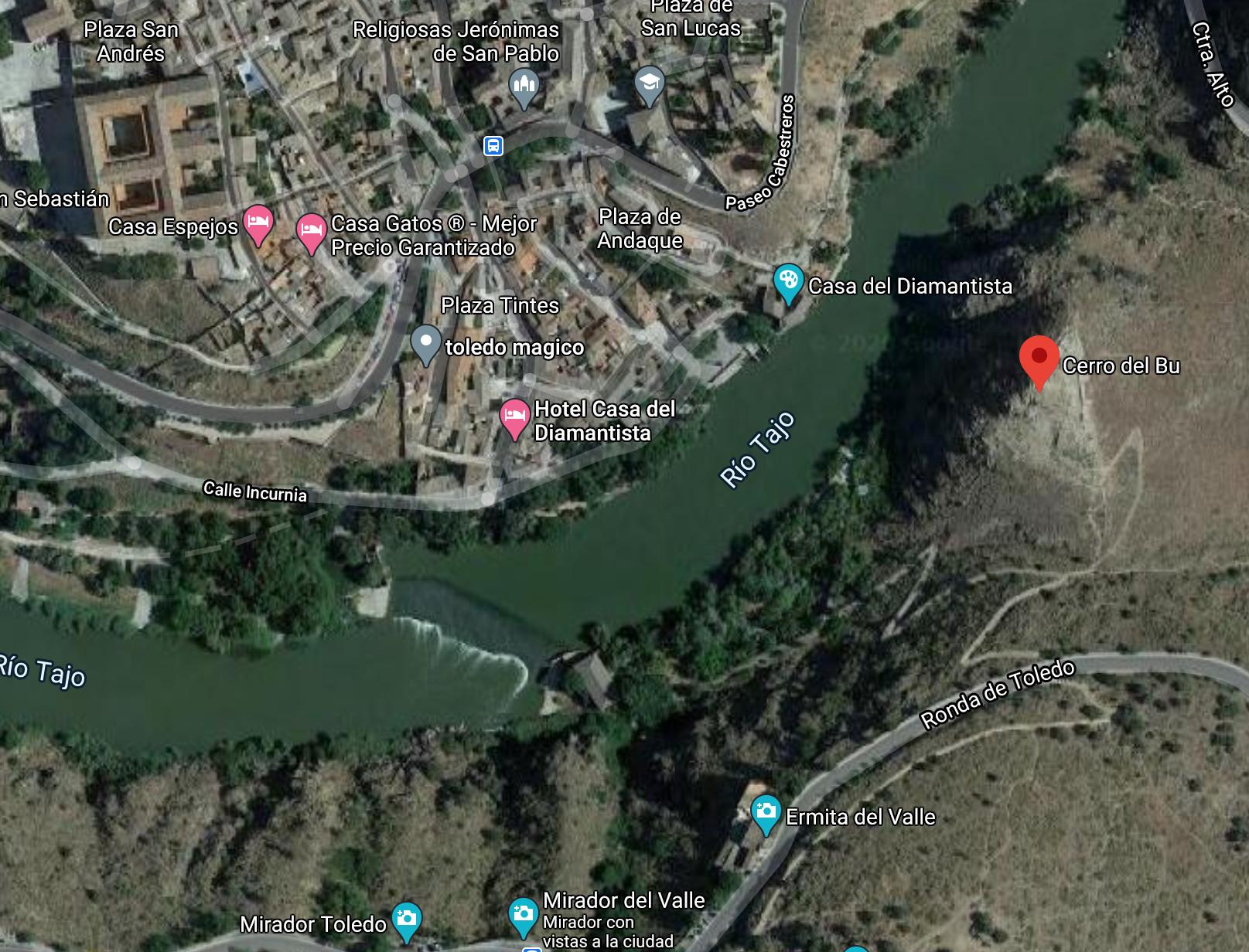 Mapa para acceder al cerro del Bú