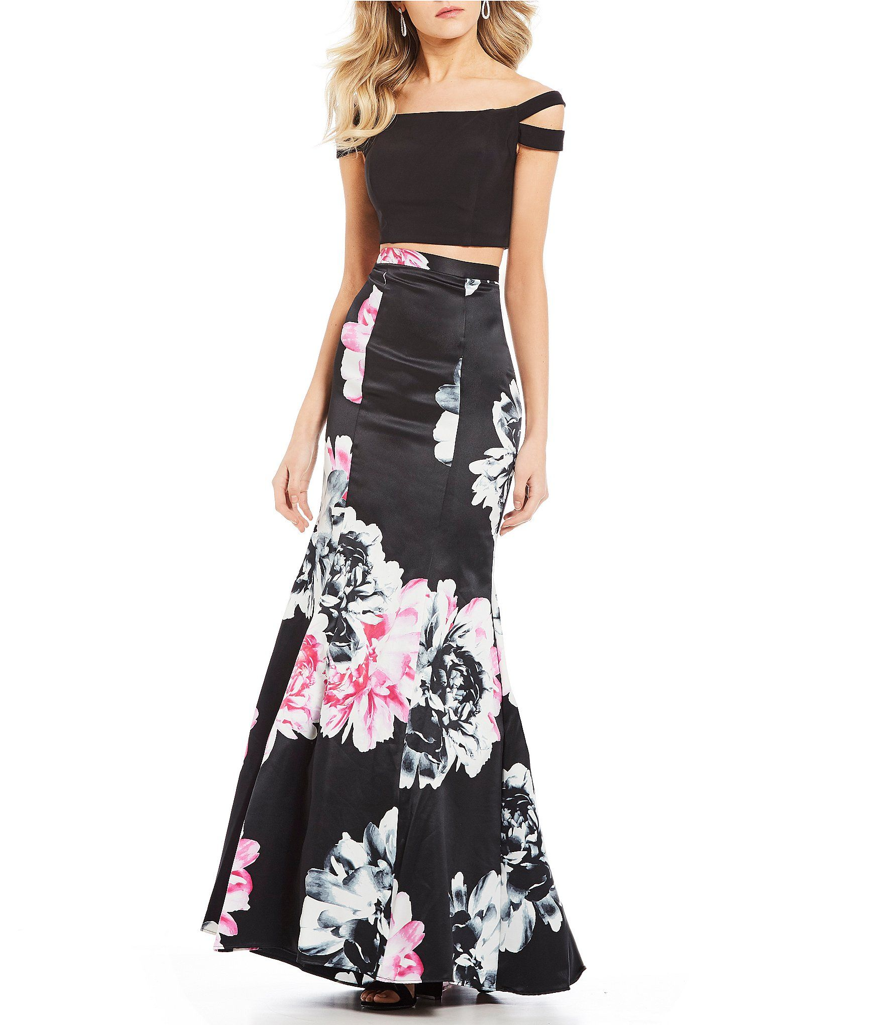 8538732ef04 Shop for Blondie Nites Off-The-Shoulder Top with Floral Skirt Two-Piece  Dress at Dillards.com. Visit Dillards.com to find clothing