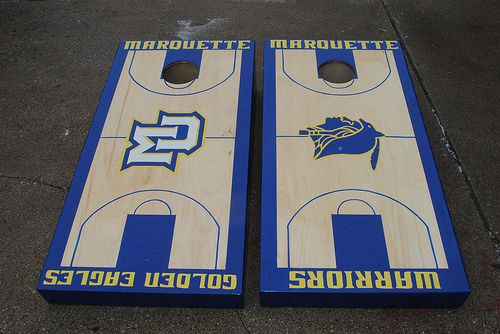 Marquette Warriors Golden Eagles Basketball Court Cornhole set
