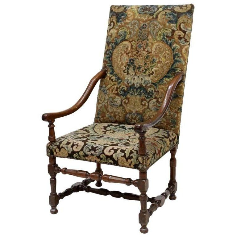 Louis XIII Style Armchair with Tapestry Upholstery, 19th ...