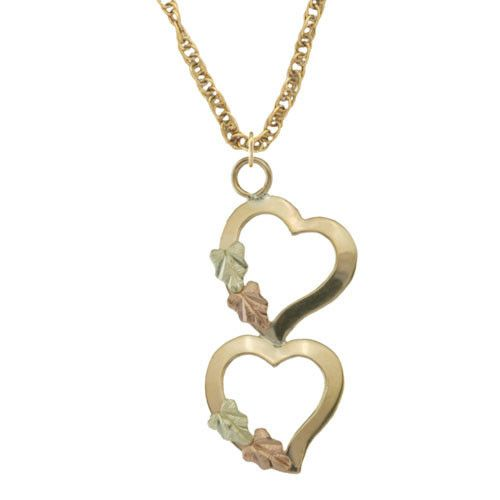 Gold Dangling Hearts Pendant & Necklace