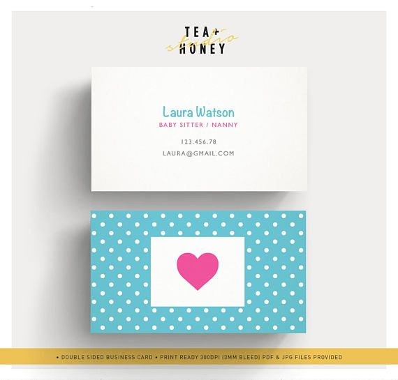 Babysitter Business Card Nanny Branding Premade Cute Design Etsy Business Card Dimensions Business Cards Creative Business Card Design