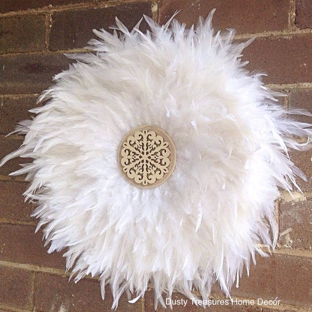 7ca8a886d73 White feathers juju hat style wall decoration designed by  dustytreasureshomedecor . Custom work available