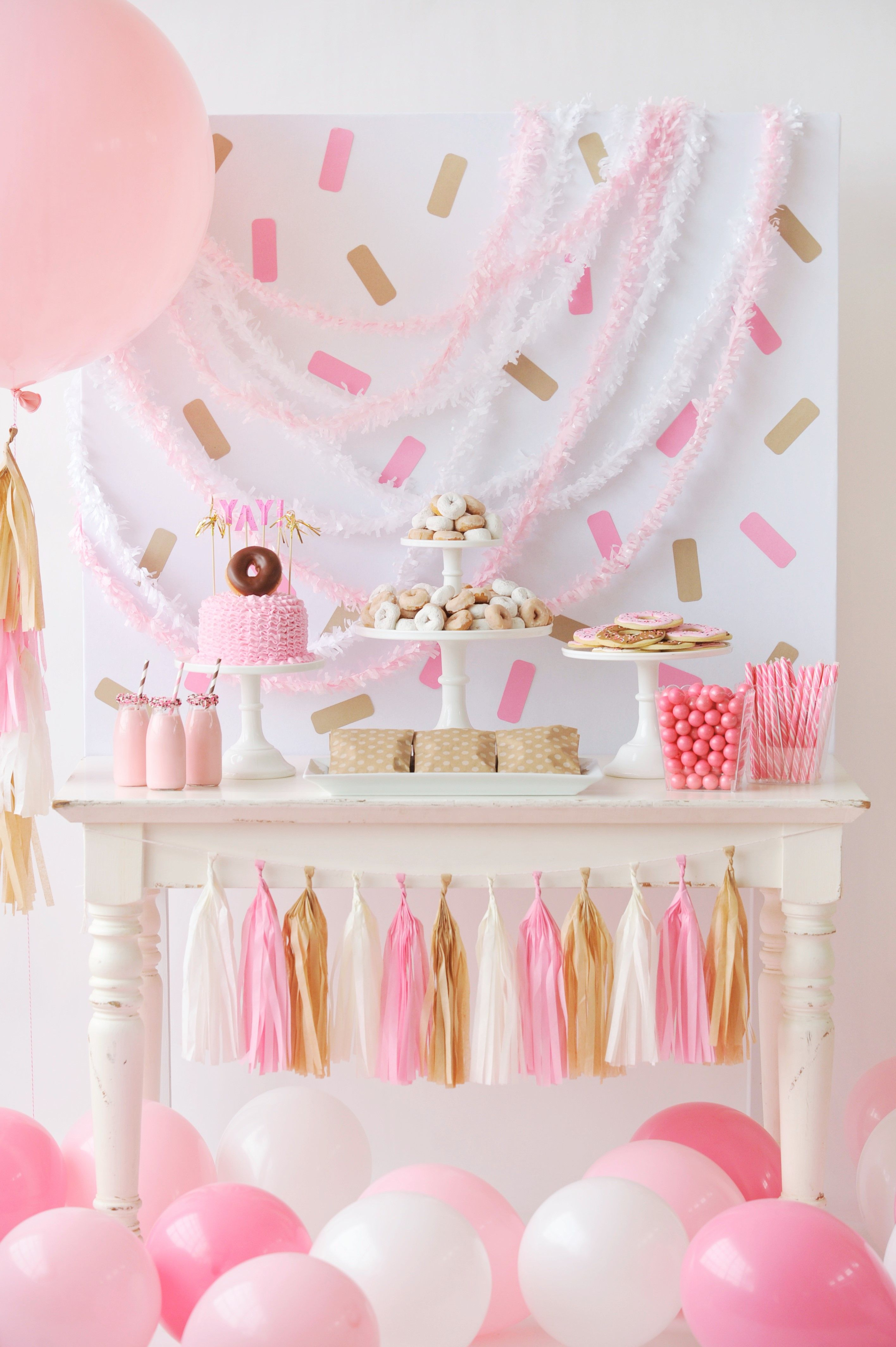 An adorable children's Donut themed Birthday Party that's perfect for a little girl or boy. Creative birthday party inspiration from Happy Wish Company.
