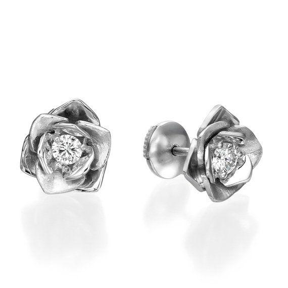 Gold Flower Earring Rose Earring Diamond Earring Earrings Ear Tight Earring Designer Earrings Stud Gold Earring 14k White Earring Rose Jewelry Designer Earrings Studs Rose Earrings