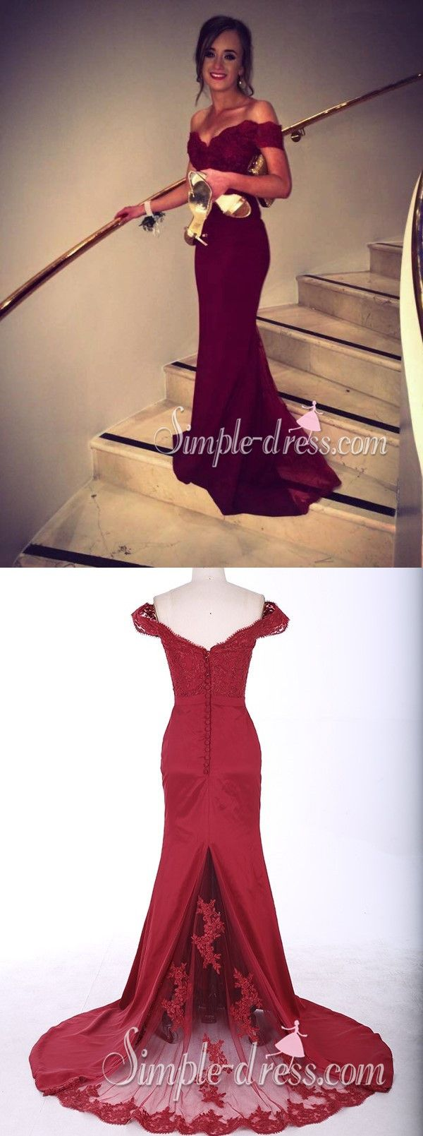 Offtheshoulder long mermaid burgundy prom dress with train