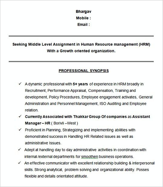 Human Resource Management Resume New Assistant Manager Hr Sampleresume Template  Hiring Manager Resume .