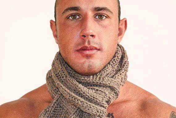 SCARF Cashmere Italian Men Knit Beige 62 by Reginastimelessknits