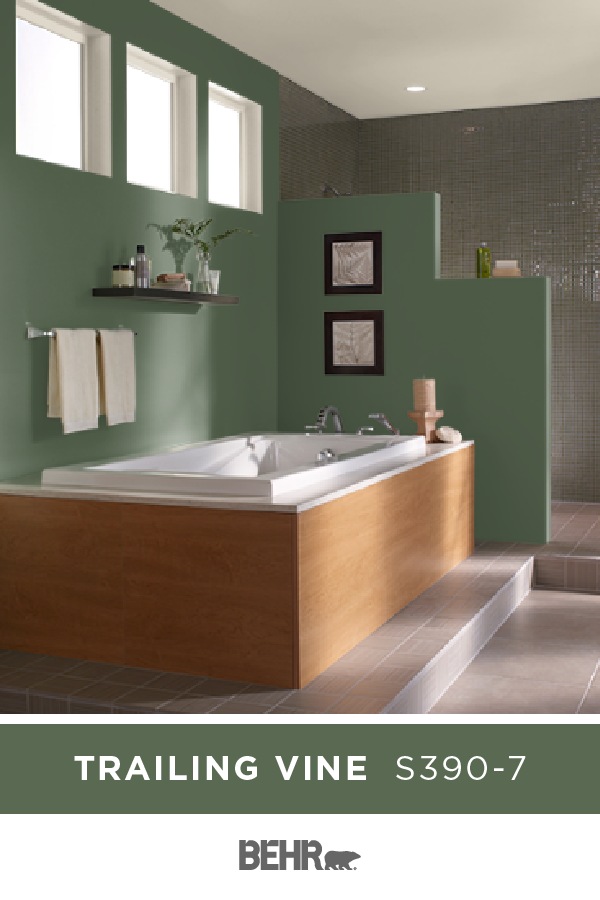 Give Your Master Bathroom A Refreshed Style For The New Year With A New Coat Of Paint In Trailing Vine This D In 2020 Western Style Decor Green Wall Color Behr Colors