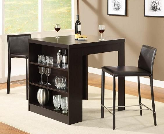 Small Kitchen Table Set Backsplashes Dining Tables For Spaces With Storage Shelf Home And Interior Design