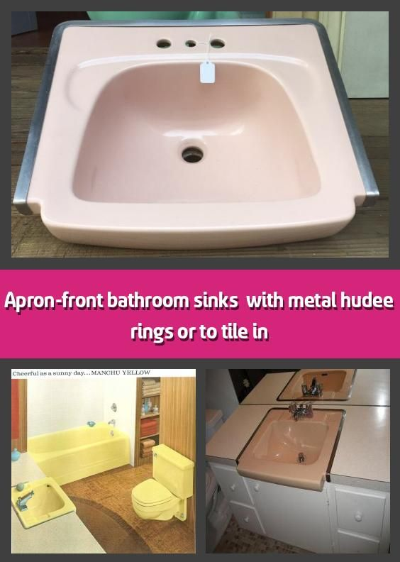Photo of Apron-front bathroom sinks & with metal hudee rings or to tile in –         When…