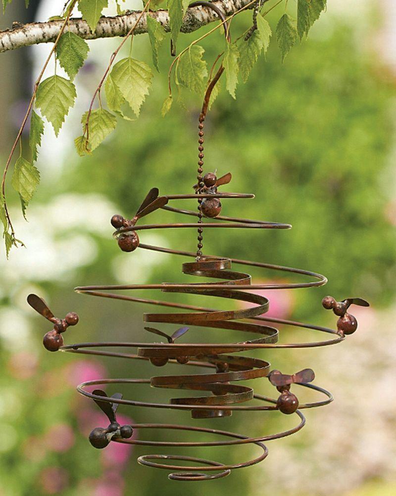 Bumble Bee Hive Spiral Metal Hanging Wind Outdoor Garden Art Honey