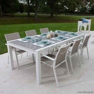 Gescova Azur Lugano Table de repas jardin Rectangulaire Extensible ...