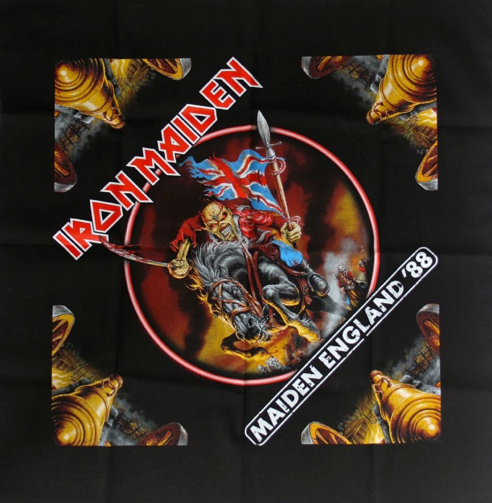 Official Iron Maiden 100 cotton black bandana measuring approx 55cm x 55cm featuring the Maiden England 88 design printed on the front YOU LL TAKE MY