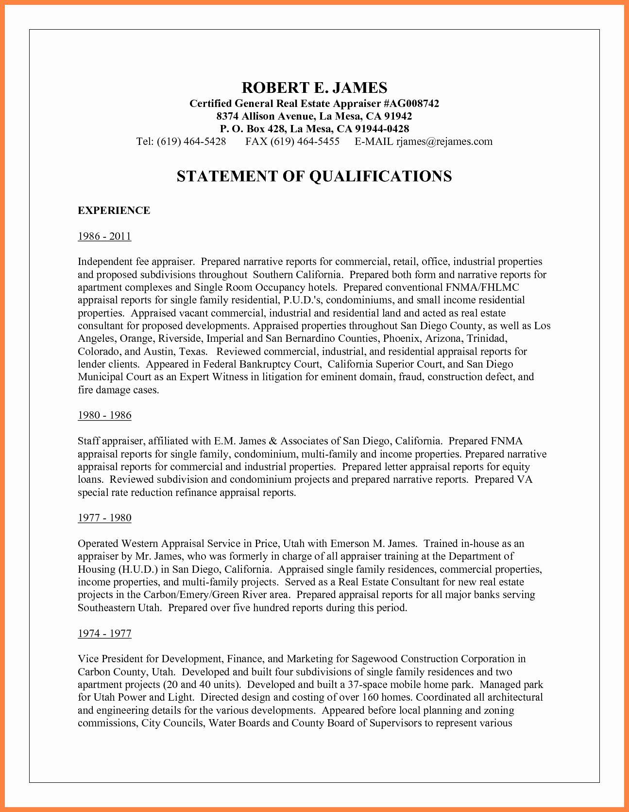 Sample Statement Of Qualification Elegant 10 Sample Statement Of Qualifications Personal Mission Statement Statement Statement Template