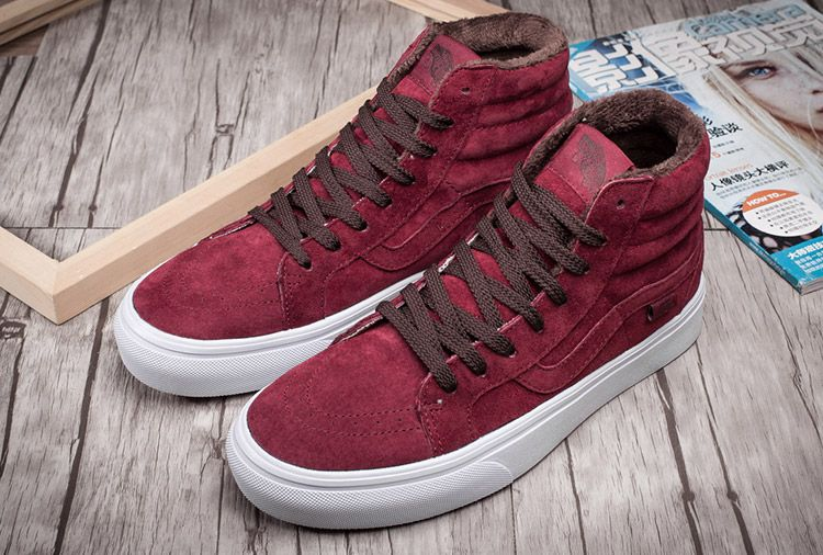 7c1f4a9c76 Vans SK8 Hi Windor Wine Suede Slim Winter Fleece Skate Shoes  Vans ...