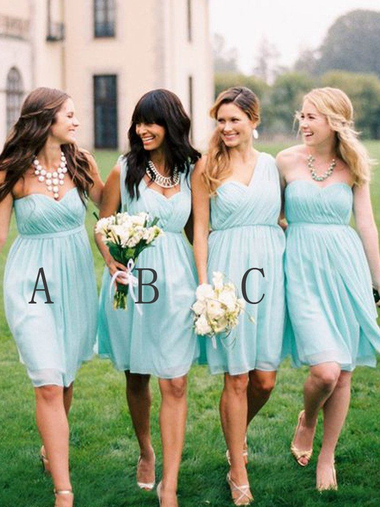 Cheap bridesmaid dresses sage kneelength chiffon short bridesmaid